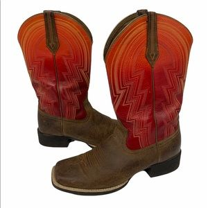 """Ariat Ladies """"Round Up"""" Square Toe Western Boots Brown/Brick Red #10021587 9.5B"""